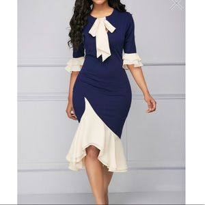 Dresses & Skirts - Dress - navy blue dress with nude ruffle XL
